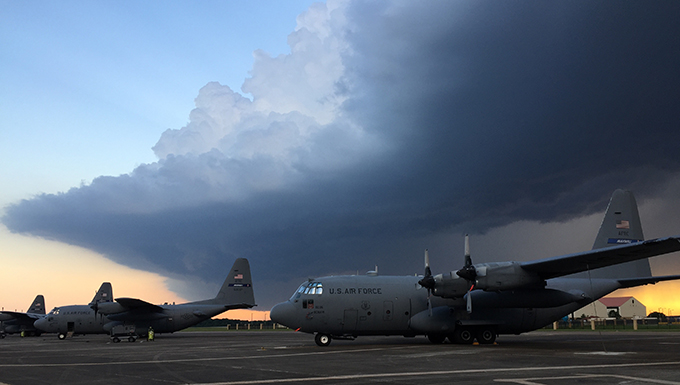 A thunderstorm rolls over the North Ramp at Maxwell Air Force Base, Ala., June 16.