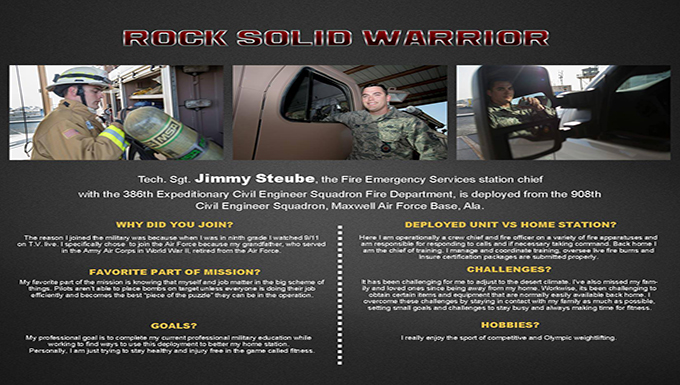 Rock Solid Warrior:Tech. Sgt. Jimmy Steube