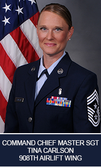 Command Chief Master Sgt. Tina Carlson, 908th Airlift Wing